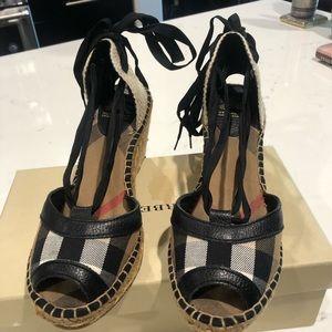 Burberry leather-trim espadrille wedge sandals.
